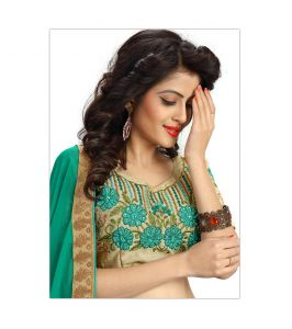 Designer Saree Blouses - Bhuwal fashion designer Embroidered work cgreen Raw Silk blouses (Unstitched Fabric) YUVIKACGREEN