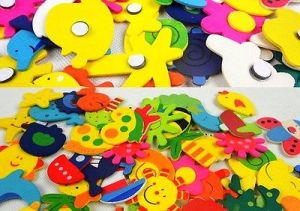 Fridge Magnet 24 PCs Wooden Stickers In Vivid Shapes Cute And Beautiful