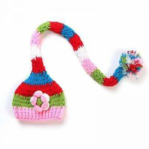 Handmade New Baby Infant Christmas Colorful Striped Cap Crochet Costume