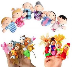 Finger Puppets Combo 4 PCs Little Mermaid, 6 Family & 12 PCs Animals With T