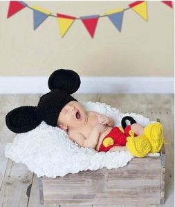 Handmade Cute New Baby Infant Mickey Mouse Crochet Costume 0-6 Months