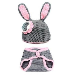 Handmade New Baby Infant Rabbit Grey Crochet Costume
