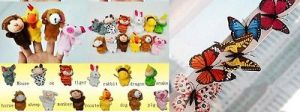 Finger Puppets Animals With Tiger & Butterfly Magnetic Stickers Beautiful C