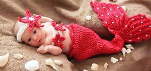 Handmade Red Mermaid, Baby Infant Crochet
