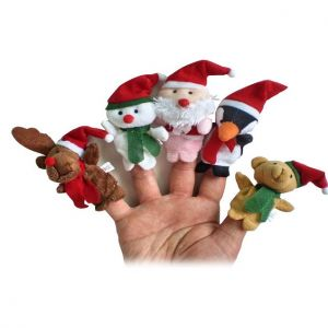 Kuhu Creations Finger Puppets Santa Claus With Snowman Animals - Set Of 5
