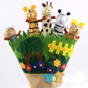 Kuhu Creation Wooden & Cloth Animal Finger Puppet
