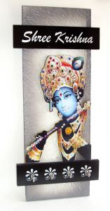 Key Holder - Decorative, Wooden, With God Photo - Shree Krishna 302