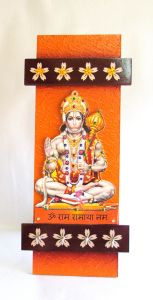 Key Holder - Decorative, Wooden, Handcrafted With God Photo - Hanumanji