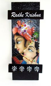 Key Holder - Decorative, Wooden, With God Photo - Radhe Krishna 219