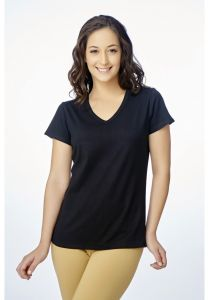 V Star Womens T Shirt Vlt 1451 Black ( V-neck Half Sleeve Womens Tee)