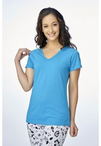 V Star Womens T Shirt Vlt 1451 Blue ( V-neck Half Sleeve Womens Tee)