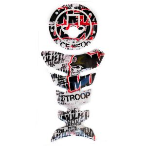 Spidy Moto Combo Of 3d Waterproof Tank Pad Protector & Fuel Cap Sticker 591a