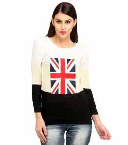 Snoby Flag Polyester Top In Black And White (sby1006)