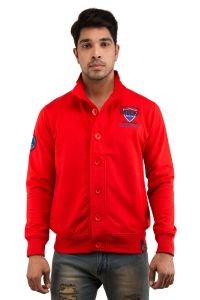 Jackets - Snoby Red color Button Jacket (SBY9024)