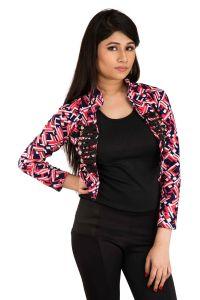 Shrugs, Short Jackets - Snoby Pink classy printed open jacket (SET_1016)