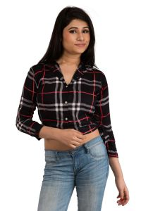 Shirts (Women's) - Snoby Black check short Shirt (SET_2018)