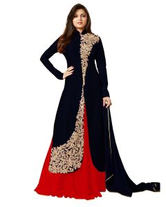 Fashionuma Stylish Designer Banglory Silk Embroidered Anarkali Indowestern Suit Bipo-22