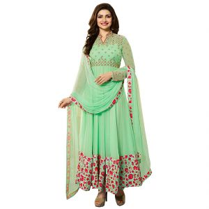Bollywood replica anarkali suits and salwar kameez - Fashionuma Indian Stylish Designer Bollywood Replica Gerogette Embroidered Anarkali Salwar Suit F1023