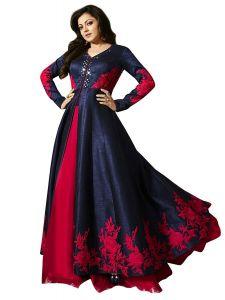 Anarkali Suits (Unstitched) - Fashionuma Designer Banglory Silk Embroidered Anarkali Semi Stitched Indowestern Suit BIPO-08