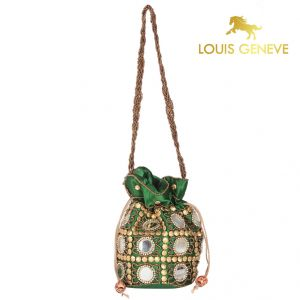 triveni,my pac,Solemio,La Intimo,Jagdamba,Louis Geneve,Surat Tex Apparels & Accessories - Louis Geneve Potli For Ladies(Product Code)_Lg-P-Green-18