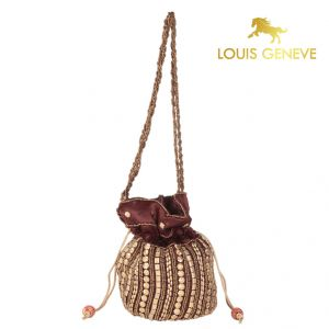triveni,my pac,Solemio,La Intimo,Jagdamba,Louis Geneve,Surat Tex Apparels & Accessories - Louis Geneve Potli For Ladies(Product Code)_Lg-P-Dbrown-26