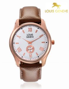 Louis Geneve Men's Watches   Round Dial   Leather Belt   Analog - Louis Geneve  White Genuine Leather watch for men_(Product Code)_LG-MW-BROWN-001