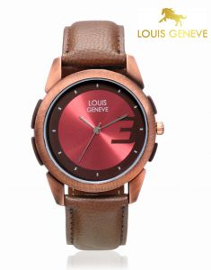 Louis Geneve Men's Watches   Round Dial   Leather Belt   Analog - Louis Geneve  Red Genuine Leather watch for men_(Product Code)_LG-MW-DBROWN-003
