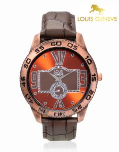 Louis Geneve Men's Watches   Round Dial   Leather Belt   Analog - Louis Geneve  Burnt Orange Genuine Leather watch for men_(Product Code)_LG-MW-BROWN-012