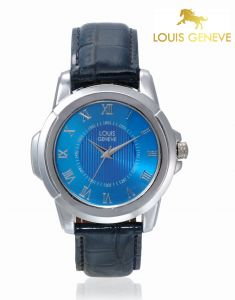 Louis Geneve Men's Watches   Round Dial   Leather Belt   Analog - Louis Geneve  Blue Genuine Leather watch for men_(Product Code)_LG-MW-BLUE-023