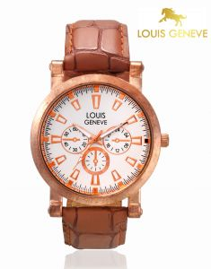 Louis Geneve Men's Watches   Round Dial   Leather Belt   Analog - Louis Geneve  White Genuine Leather watch for men_(Product Code)_LG-MW-TAN-010