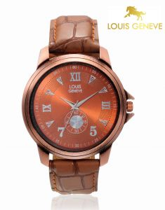 Louis Geneve Watches - Louis Geneve  Burnt Orange Genuine Leather watch for men_(Product Code)_LG-MW-TAN-017