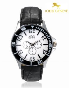 Louis Geneve Men's Watches   Round Dial   Leather Belt   Analog - Louis Geneve  White Genuine Leather watch for men_(Product Code)_LG-MW-WBLACK-026