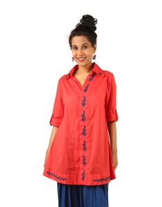 Indricka Red Color Top For Women.