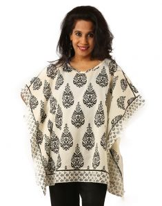 Indricka Cream Color Poncho Kurti For Women.
