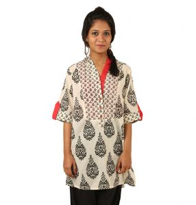Indricka Cream Color Kurti For Women.