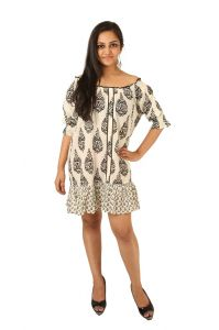 Western Dresses - INDRICKA Cream color DRESS for women.