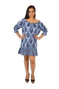 Western Dresses - INDRICKA Blue color DRESS for women.