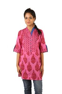 Indricka Pink Color Kurti For Women.