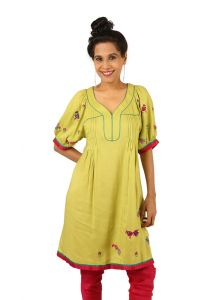 Indricka Green Color Tunic For Women.