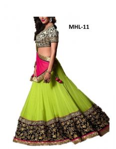Shopeezo Wedding Wear Green Color Lehenga Choli Semi-stitched Mlcmhl11lca27