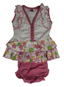 Frocks - FROCK - Pink & White Frock with Panty 0-3 Months Size - 'S'