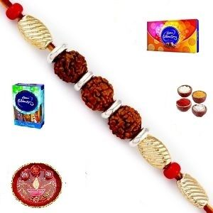 Rakhis & Gifts (India) - Rakhi Gifts to India - Elegant Stone and White Pearl Rakhi (Product Code - JSS001)