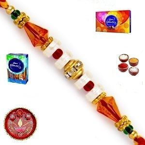 Rakhis & Gifts (India) - Rakhi Gifts to India - Elegant Golden Stone and Pearl Rakhi (Product Code - JSS009)