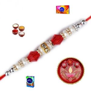 Rakhis & Gifts (India) - Rakhi Gifts to India - Elegant Stone and Pearl Rakhi (Product Code - JSS028)