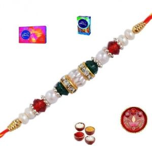 Rakhis & Gifts (India) - Rakhi Gifts to India - Elegant Stone and Pearl Rakhi (Product Code - JSS050)
