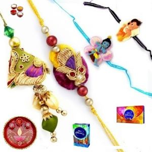 Rakhi Gifts To India - Beautiful Zardosi & Gold Beads - All-in-1 Family Rakhi Set - ( Product Code - Jss145 )