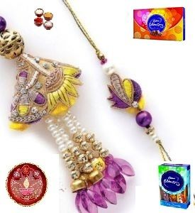Beautiful Polka Design Bhaiya Bhabhi Rakhi Set - ( Product Code - Jss152 )