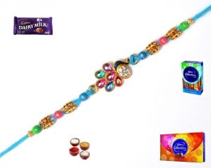 Precious & Semi Precious Rakhis (India) - Rakhi Gifts-Beautiful Peacock Rakhi (Product Code - MA8416)
