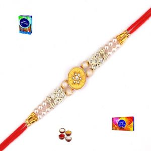 Rakhi Online - Rakhi Gifts - Exclusive Pearl & Golden Rakhi - ( Product Code - Ma8429 )