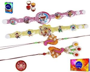 Rakhi To India - White & Pink Pearls And Stone Work Family Rakhi Set - ( Product Code - Mo1004 )